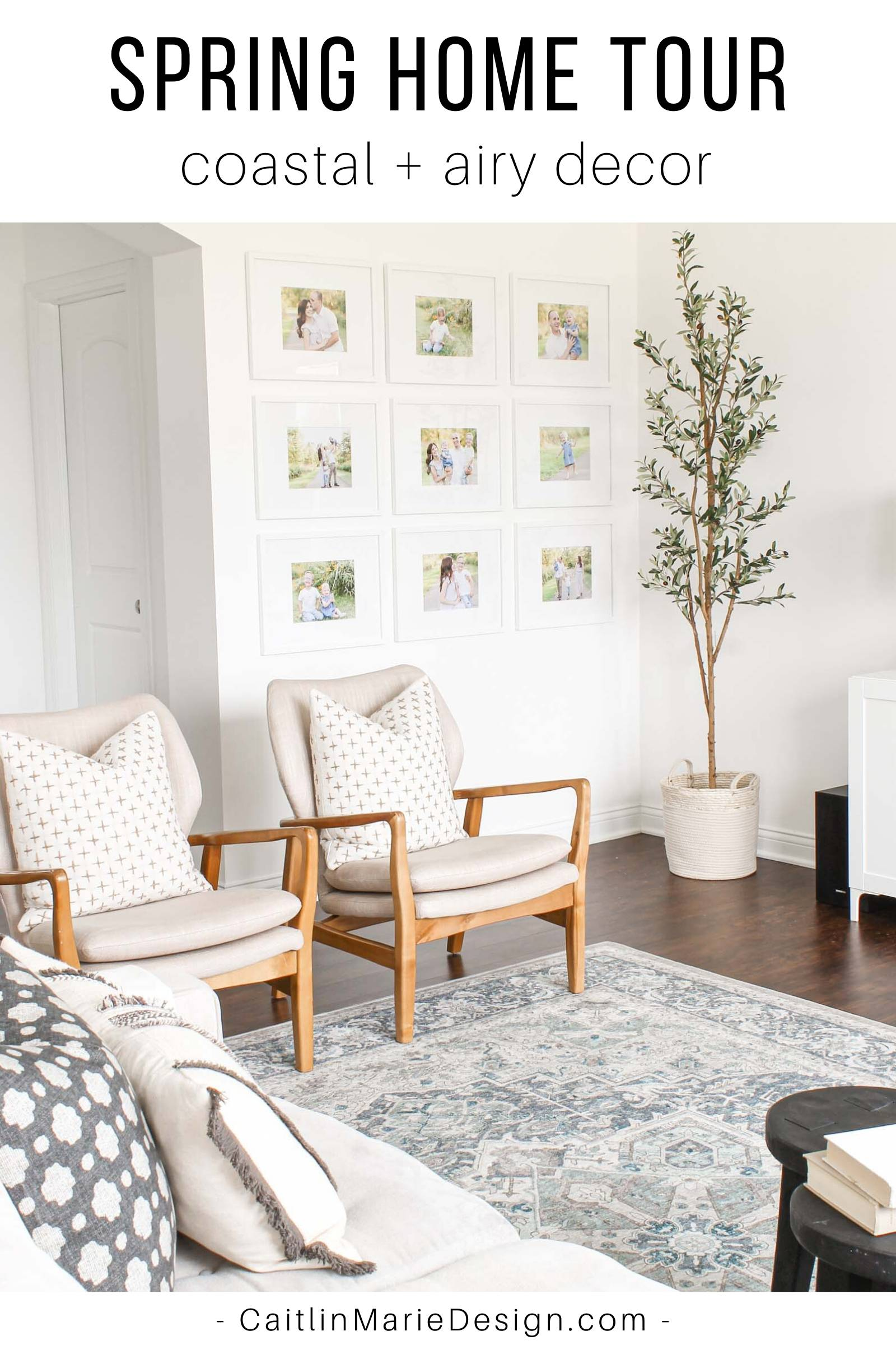 Airy Home Decor | Spring Home Tour | gallery wall, blue vintage rug, family photo wall, olive tree, wood accent chairs