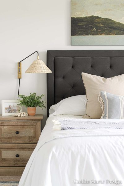 Bedroom Sconces - Coastal Master Bedroom Update | wicker rattan sconce, coastal decor, weathered wood nightstand, charcoal headboard, coastal farmhouse