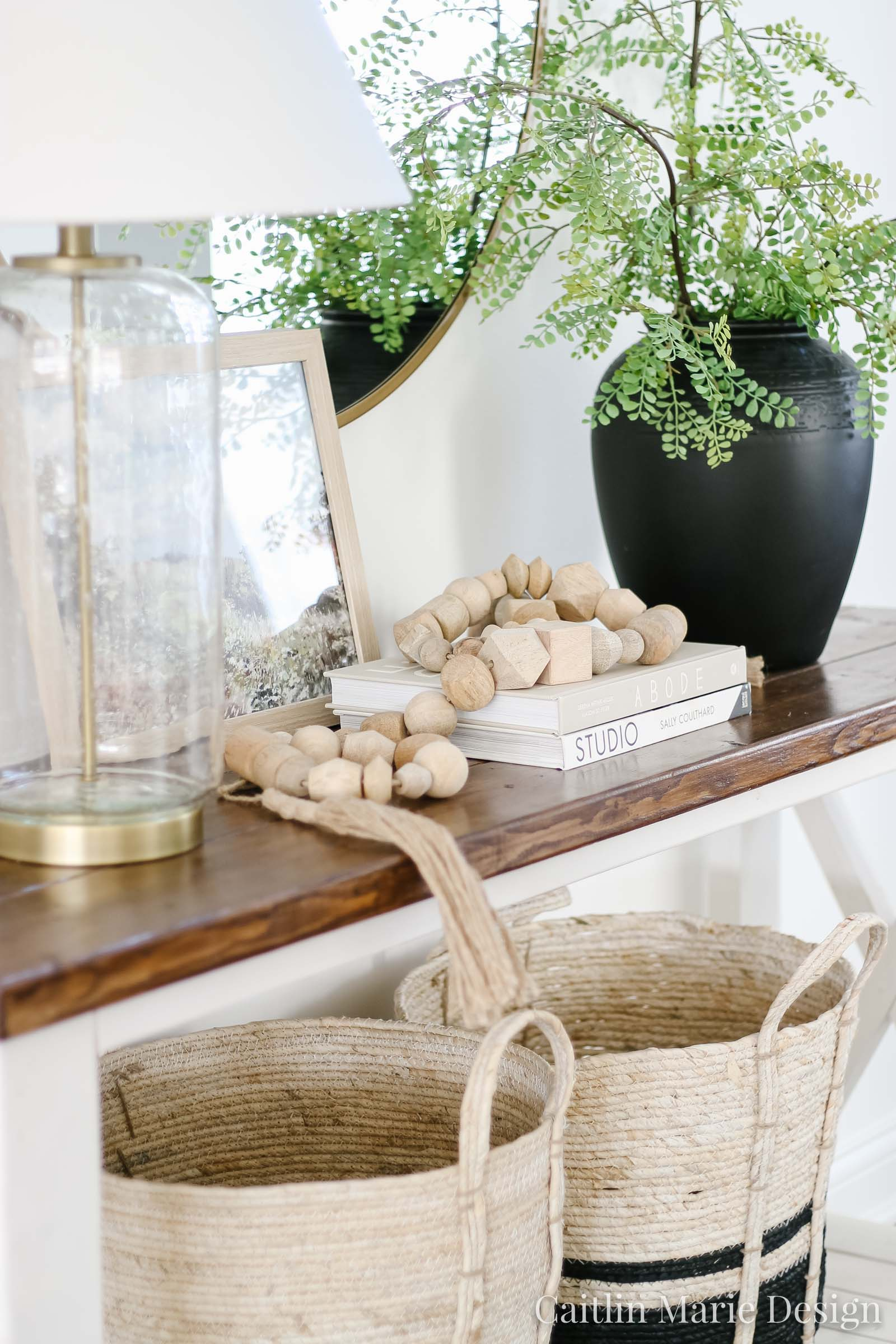 Coastal Traditional Entryway Decor | spring home tour, modern traditional decor, entryway design, wood bead garland