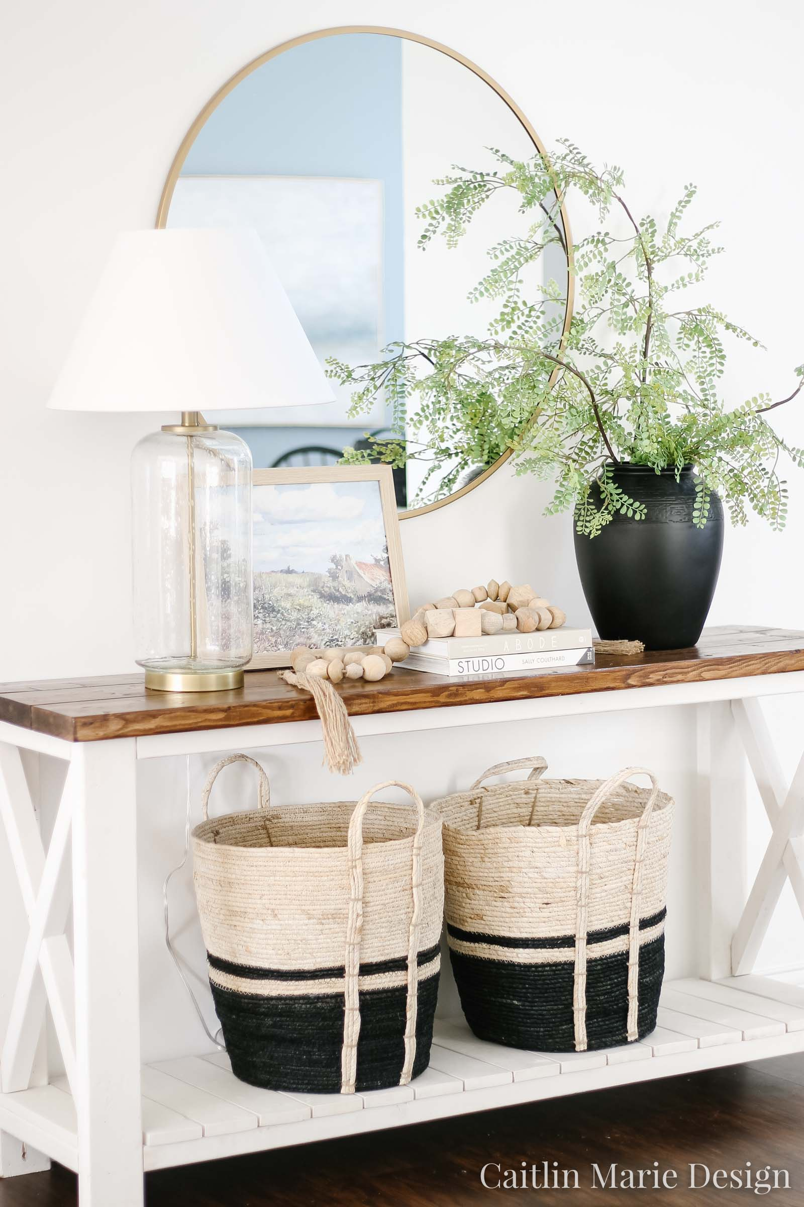 Coastal Traditional Entryway Decor | spring home tour, modern traditional decor, entryway design, wood bead garland, airy home decor