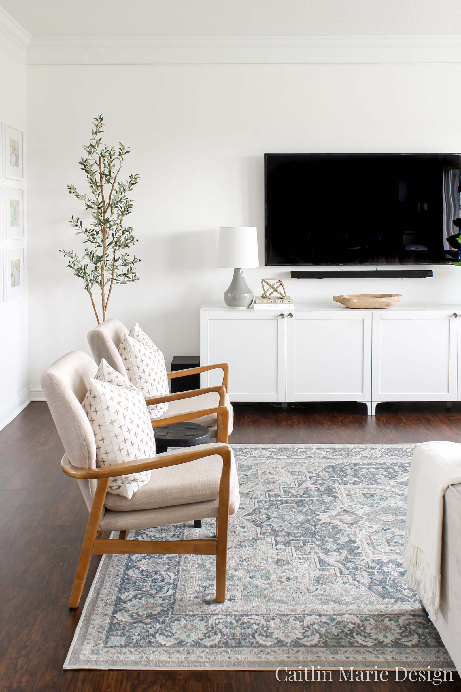 Modern Coastal Living Room | vintage blue rug, wood accent chairs, olive tree, modern media console, IKEA hack, Besta