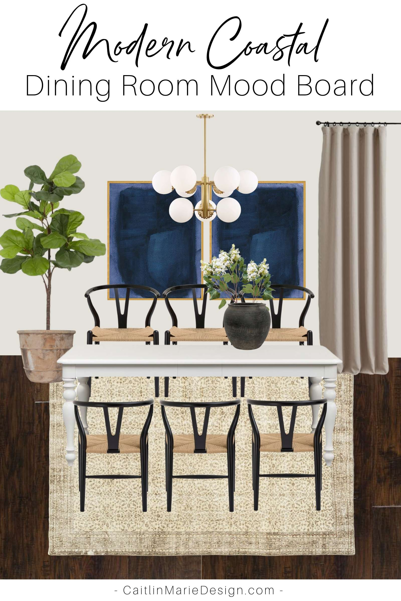 Modern Coastal Dining Room Mood Board | One Room Challenge Spring 2020, coastal home decor, modern chandelier, wishbone chairs, vintage rug, white farmhouse table