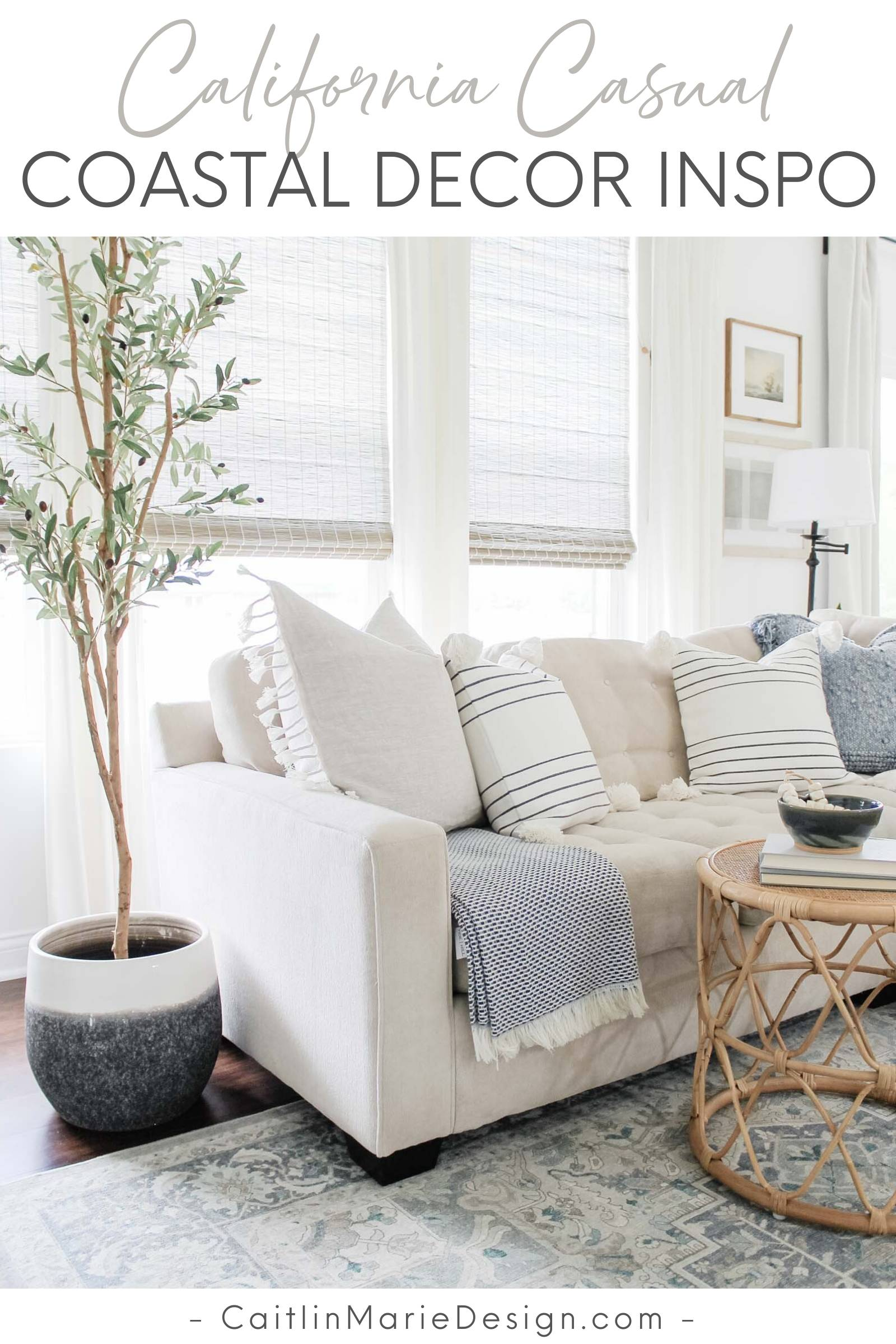 Coastal Home Decor Refresh with Serena & Lily | coastal living room, light and airy decor, California casual, olive tree, rattan side table, Serena & Lily pillows, coastal decor