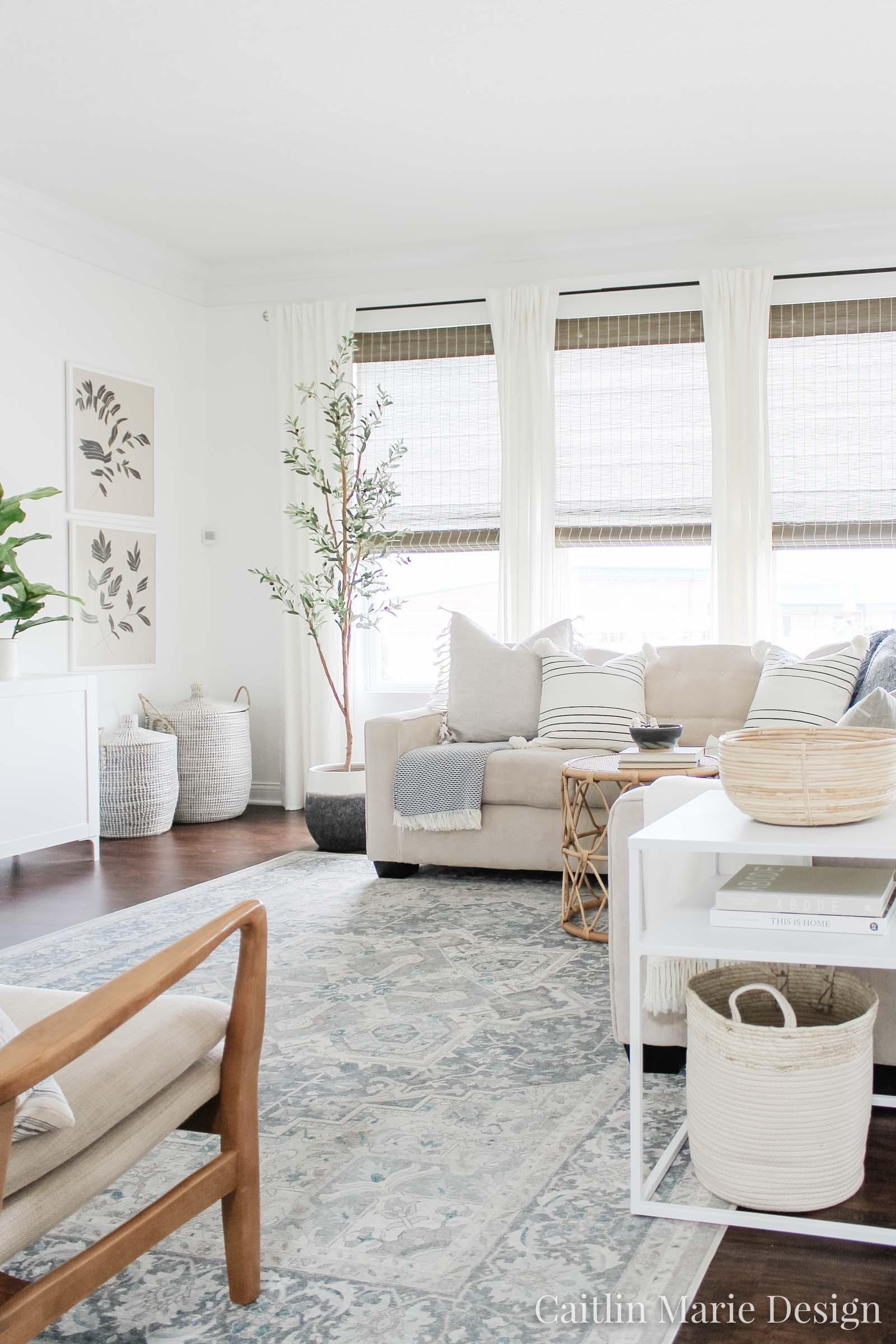 Coastal Home Decor Refresh with Serena & Lily | coastal living room, light and airy decor, olive tree, blue vintage rug, Serena & Lily pillows, coastal decor