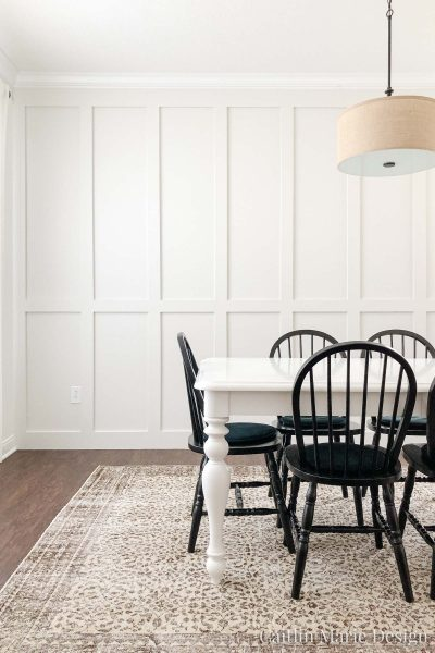Board and Batten Accent Wall (ORC 6) - Coastal decor, dining room inspiration, beige paint, neutral wall color, BM Classic Gray, griege paint