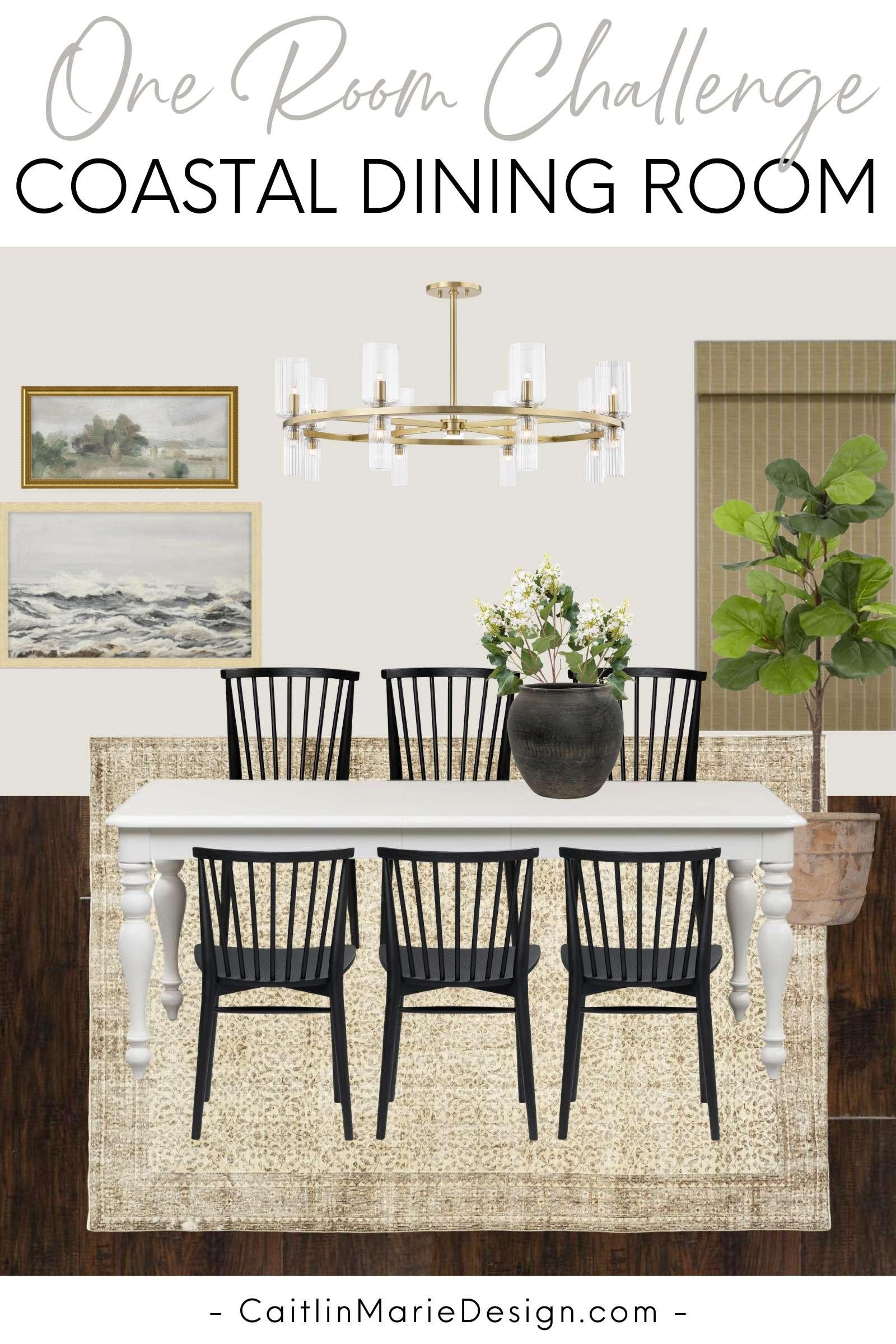 Coastal Dining Room Mood Board | One Room Challenge Spring 2020, white farmhouse table, black Windsor dining chairs, brown vintage rug, brass modern chandelier, coastal landscape artwork, budget decor, coastal decor