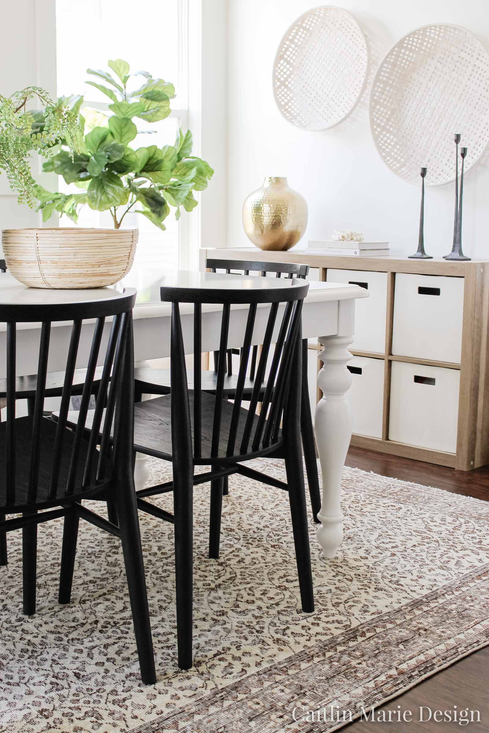Coastal Dining Room Reveal | One Room Challenge Spring 2020, white farmhouse table, black Windsor dining chairs, brown vintage rug, pretty toy storage, cube organizer, budget decor, coastal decor