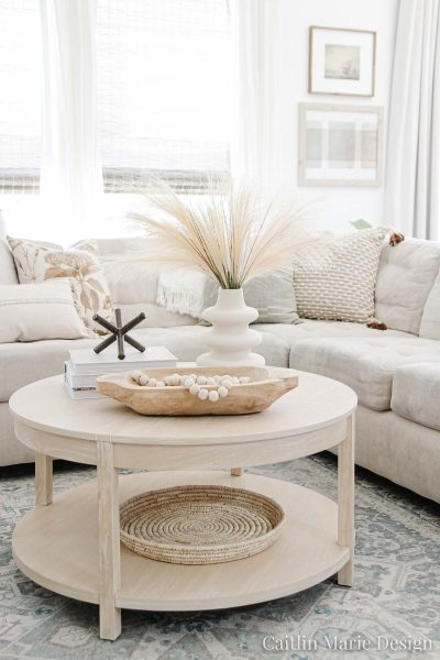 Affordable Coffee Table Round Up (All Under $300) | budget friendly living room, round coffee table, whitewash wood coffee table, coastal farmhouse, subtle fall decor, modern vintage home, California casual, McGee and Co decor