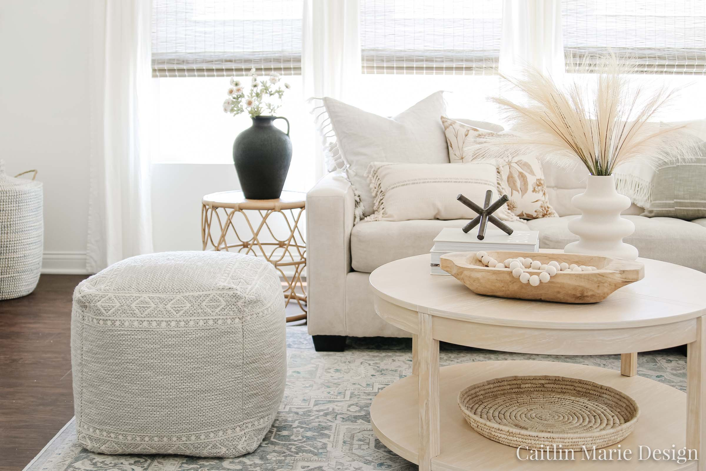 Minimalist Fall Decor | Fall Home Tour 2020 | modern traditional living room, cozy living room, aesthetic decor, modern coastal, round coffee table, black vase