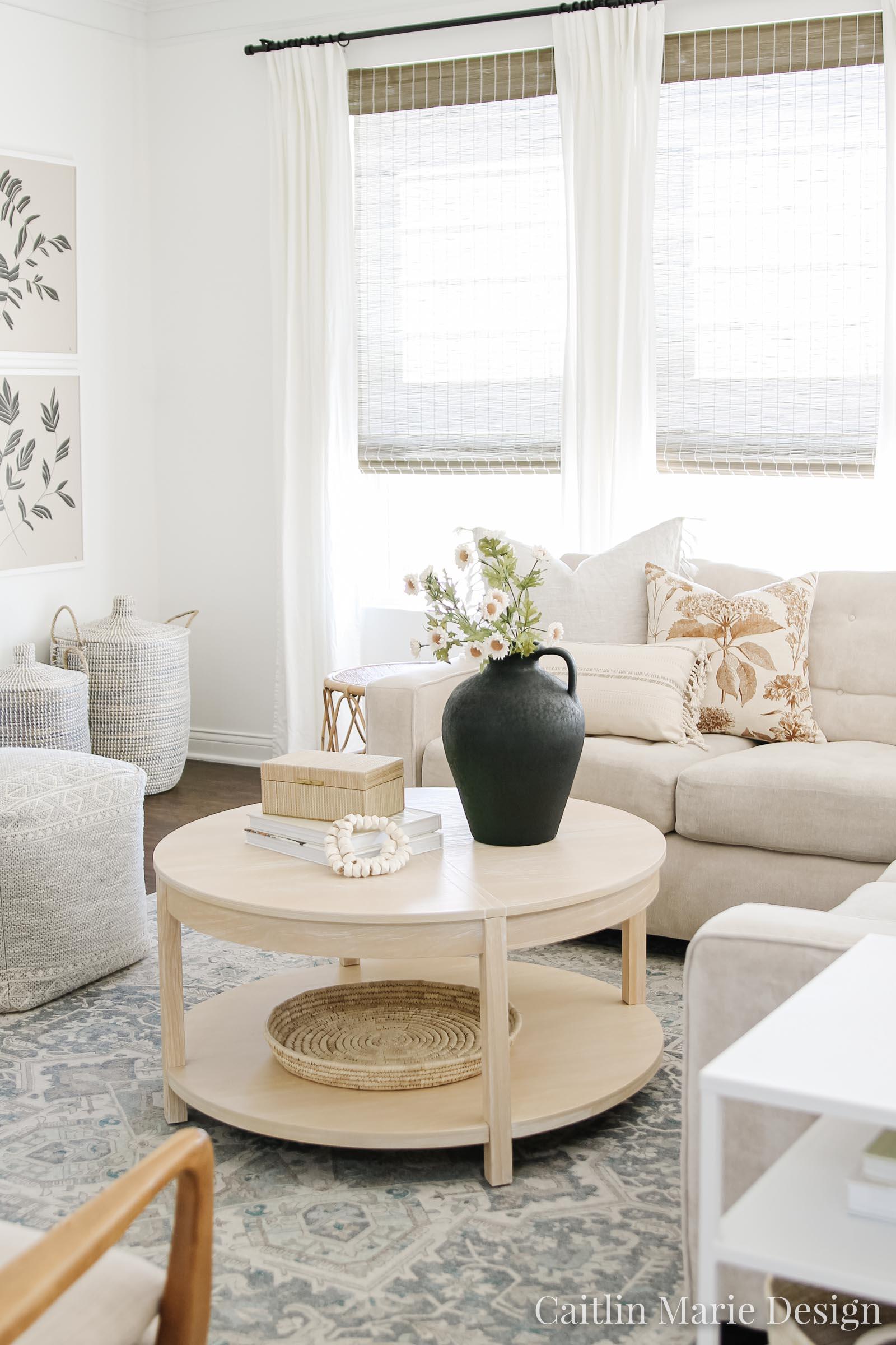 Minimalist Fall Decor | Fall Home Tour 2020 | coastal farmhouse, round coffee table, black vase, modern traditional, blue area rug, bone beads