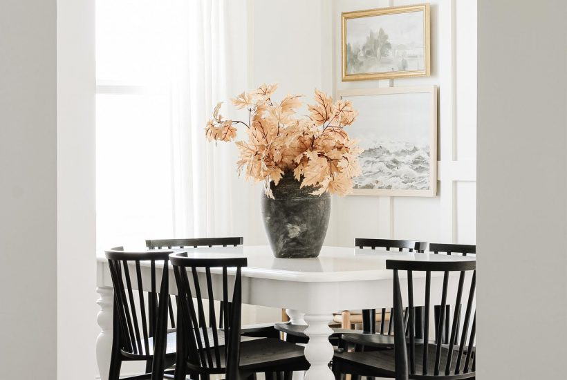Minimalist Fall Decor | Fall Home Tour 2020 | coastal modern decor, vintage home, Article dining chairs, aged stone vase, board and batten, coastal farmhouse