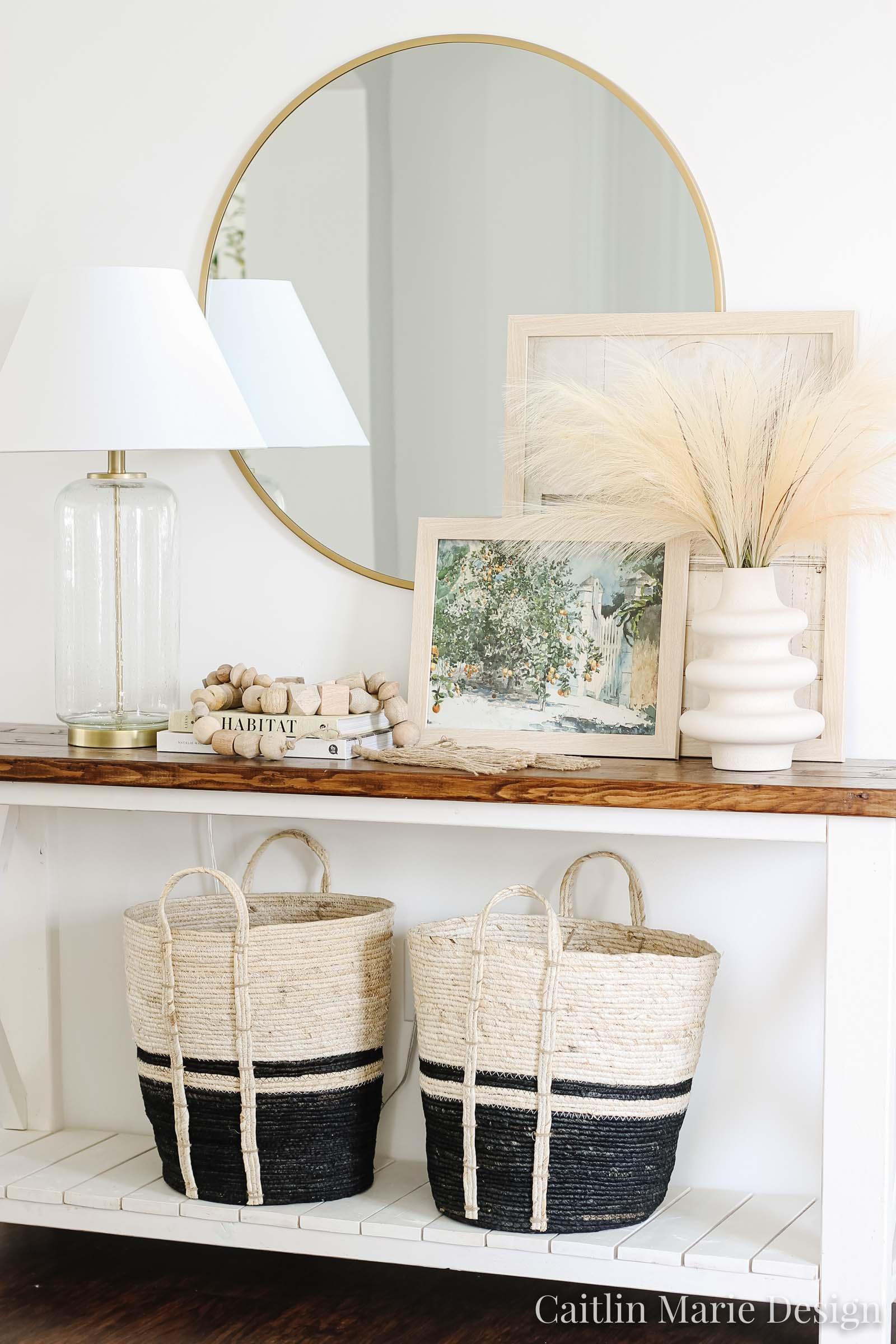 Minimalist Fall Decor | Fall Home Tour 2020 | coastal farmhouse, modern traditional, California casual, McGee and Co decor, vintage artwork, pampas grass, entryway
