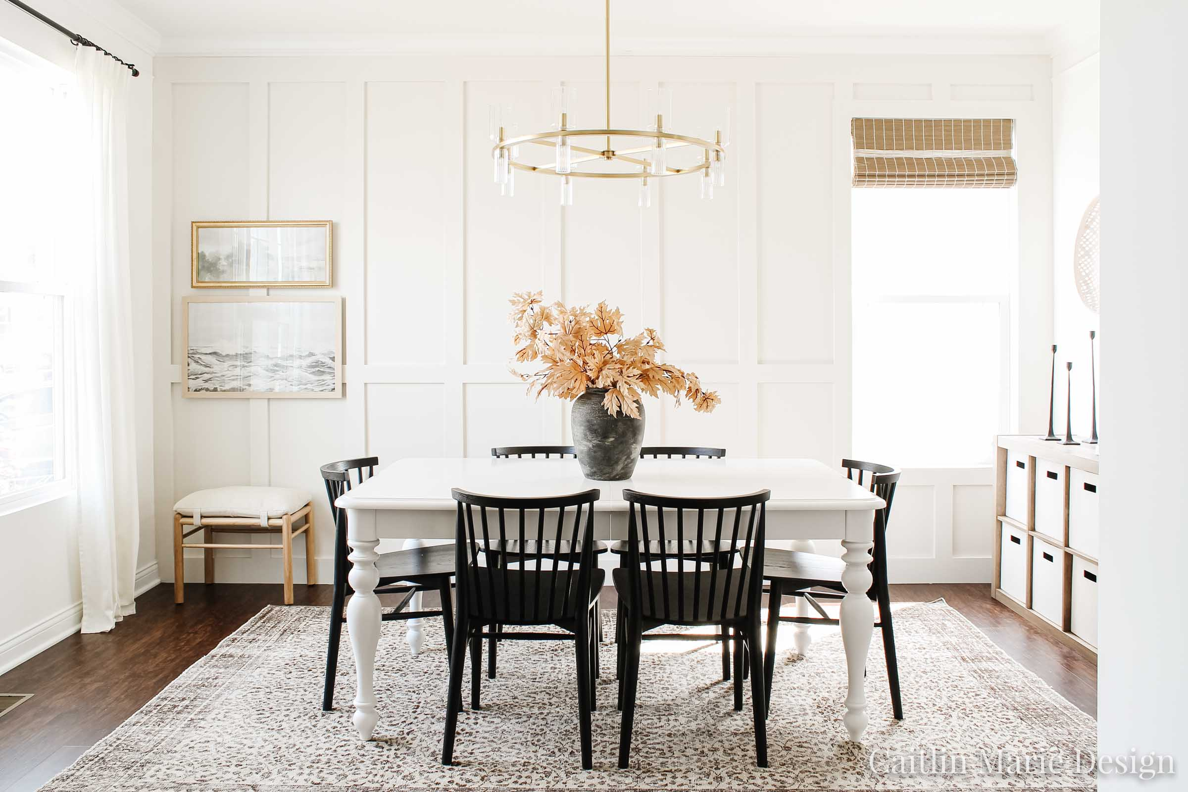 Minimalist Fall Decor | Fall Home Tour 2020 | coastal modern decor, vintage home, Article dining chairs, aged stone vase, board and batten, coastal farmhouse