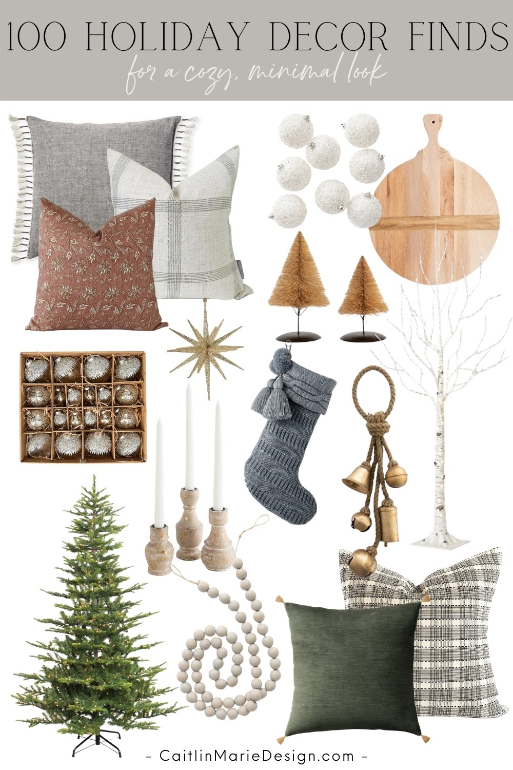 100 Holiday Decor Finds for a Cozy, Minimal Look | minimalist Christmas, wood bead garland, sparse Christmas tree, bottle brush trees, starburst ornament, modern traditional Christmas, coastal Christmas decor