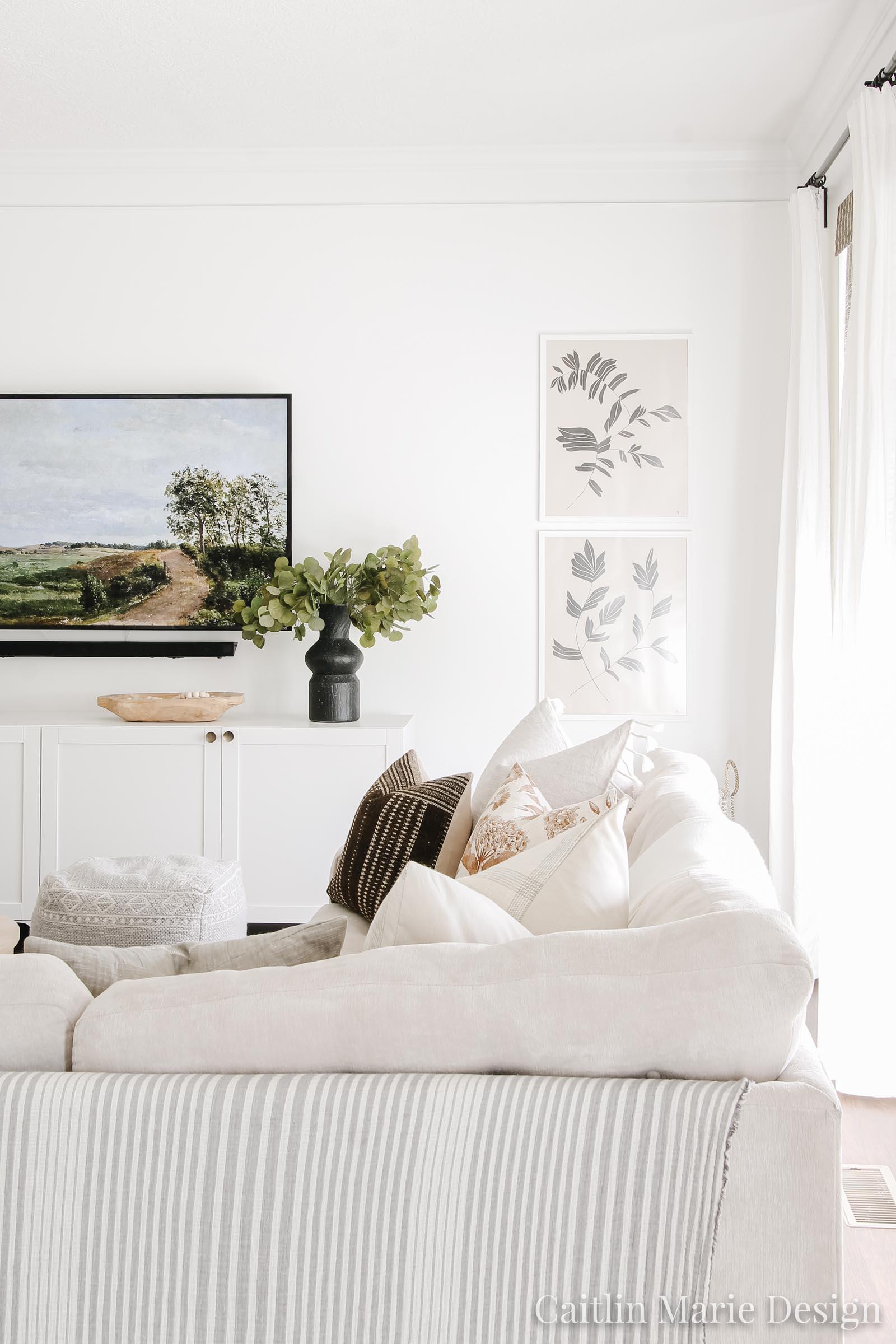Neutral living room, tv art
