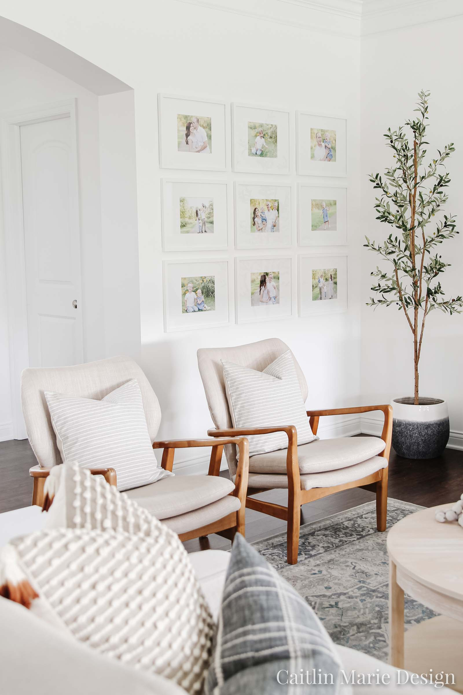 Living Room, Ruggable rug, wood accent chairs