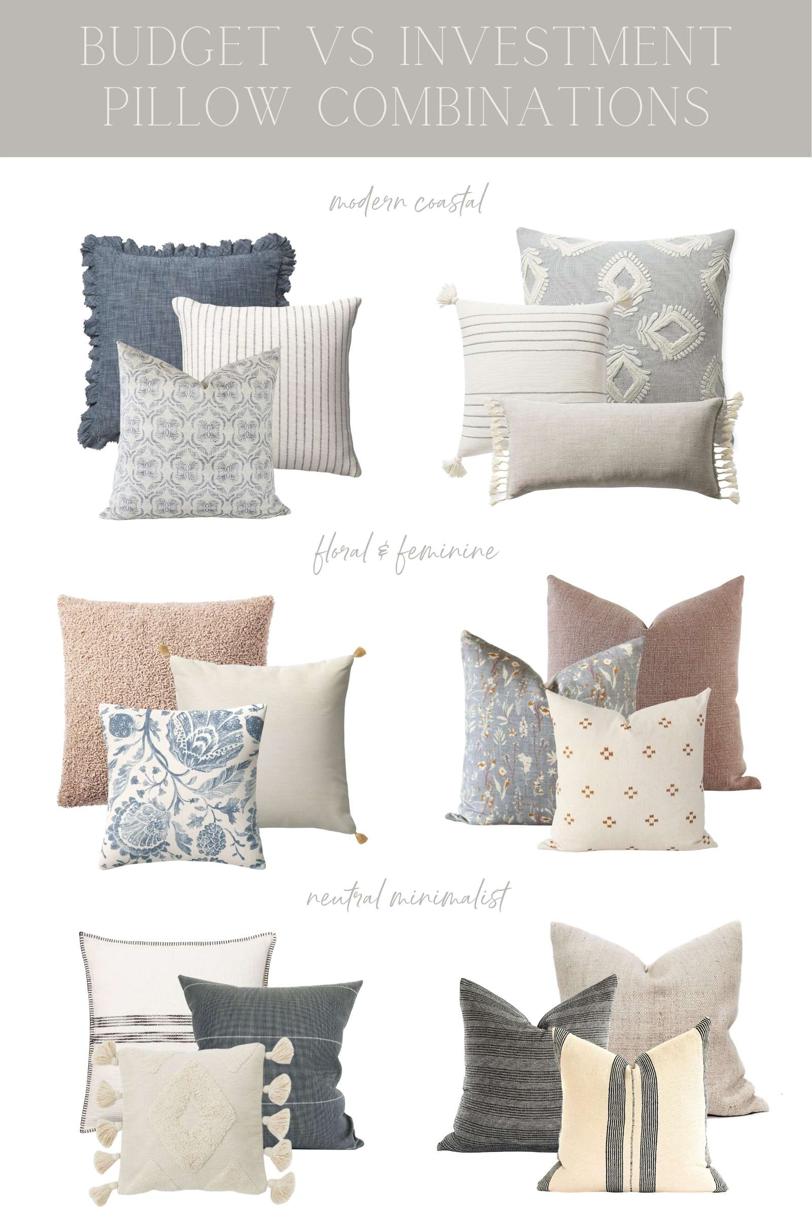 Throw Pillow Combinations budget vs investment