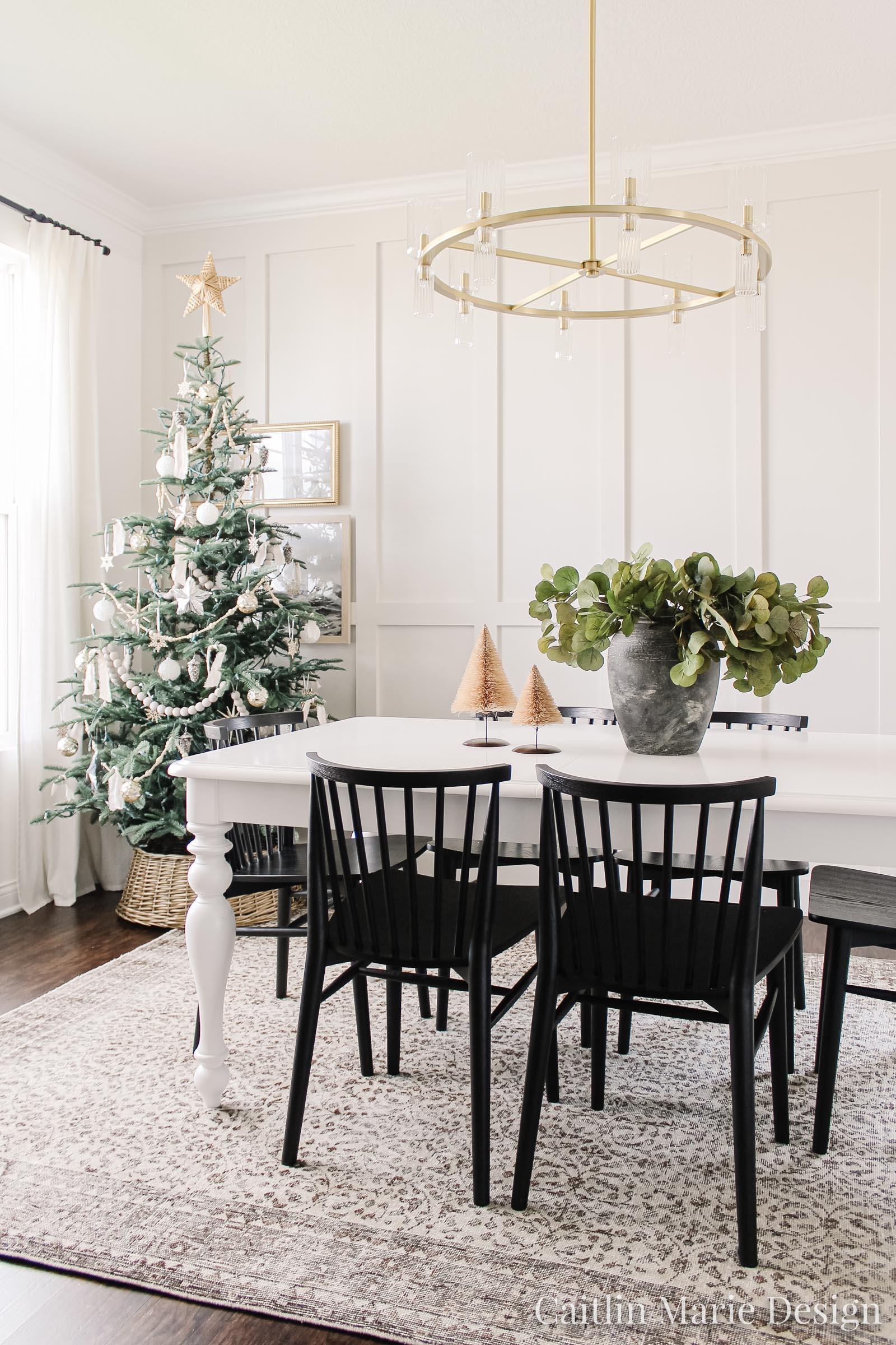 Christmas dining room, neutral Christmas tree, wicker tree collar, board and batten, coastal Christmas