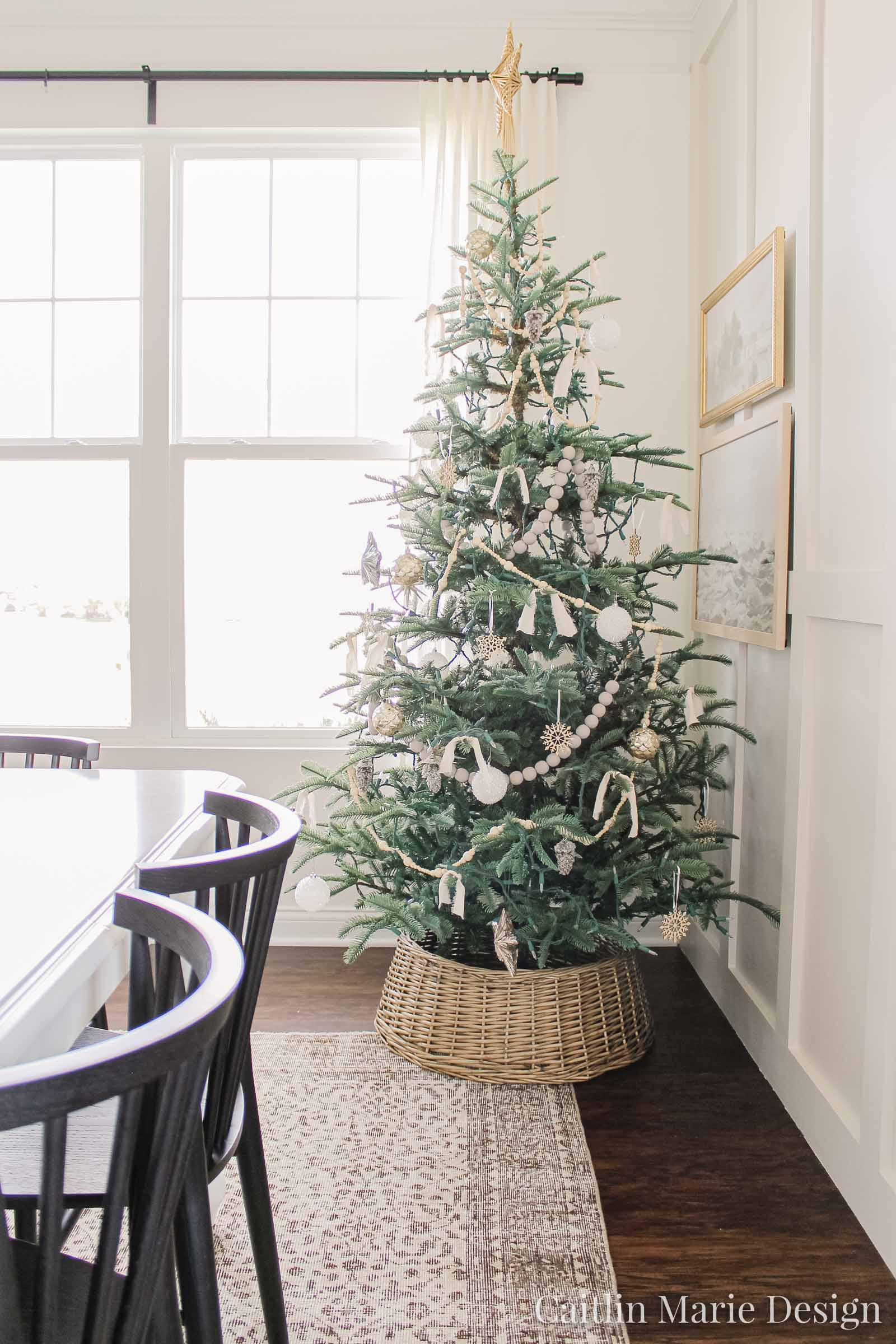 neutral Christmas tree, vintage rug