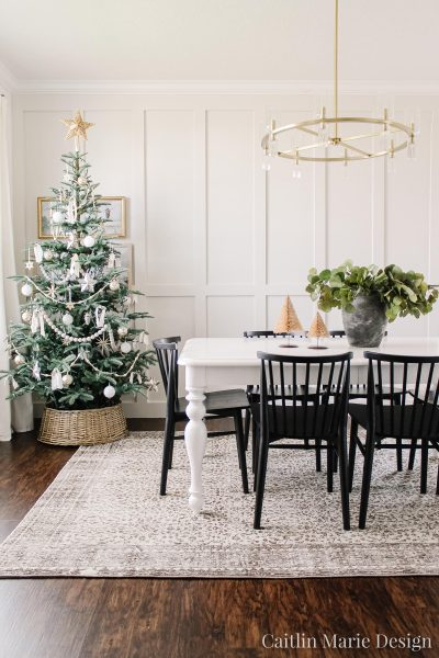 Christmas dining room, neutral Christmas tree, wicker tree collar, board and batten, coastal Christmas