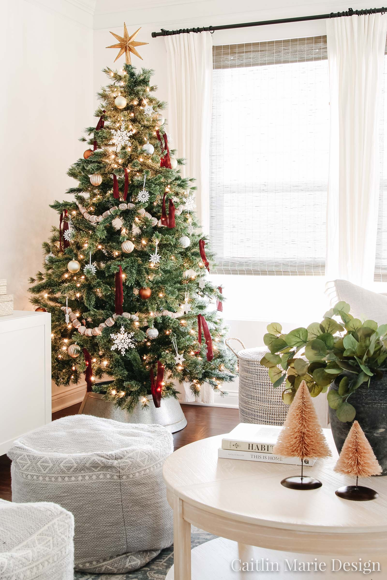 modern Christmas tree, ribbon tied on tree, coastal Christmas