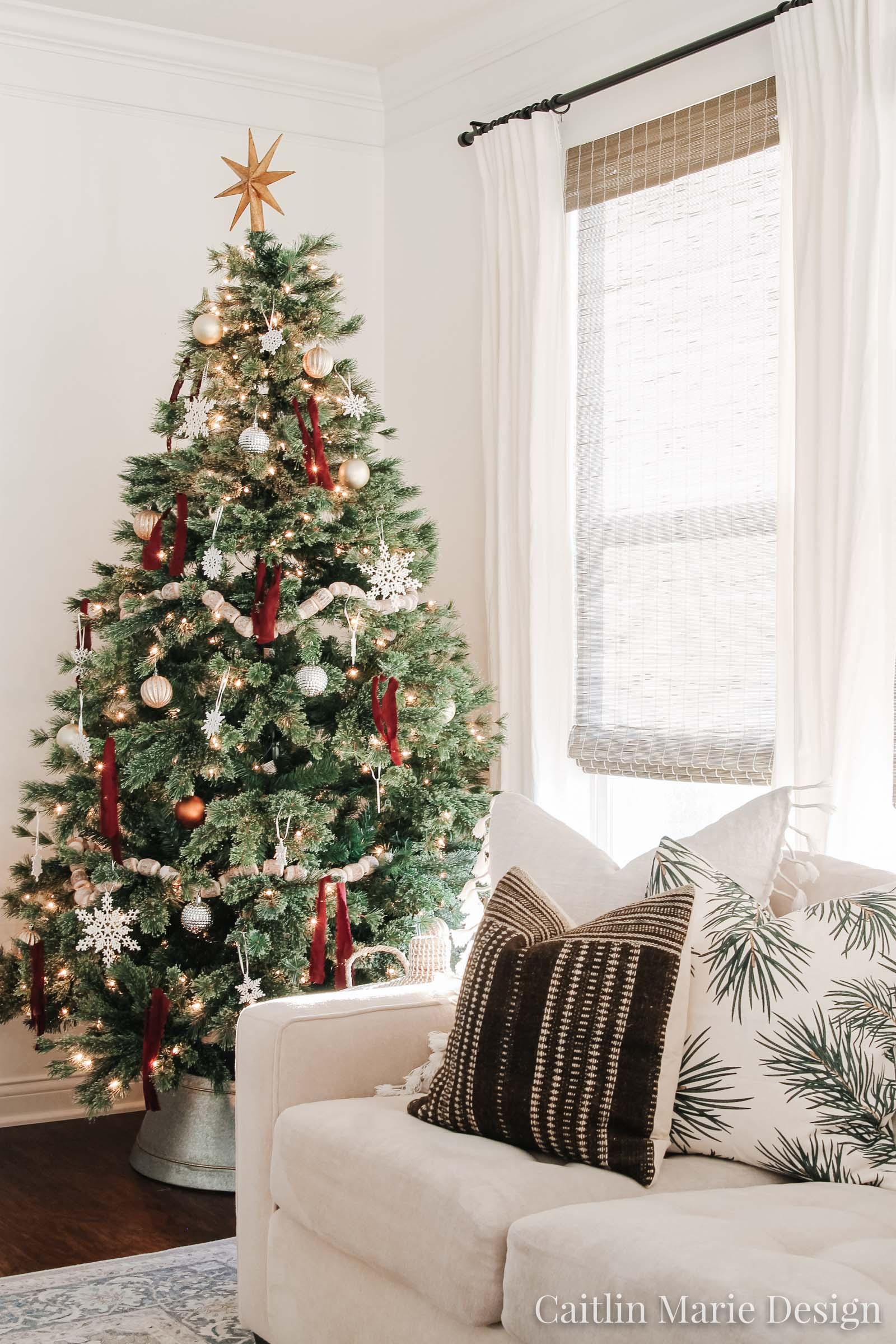 brown wool throw pillow, modern traditional christmas tree