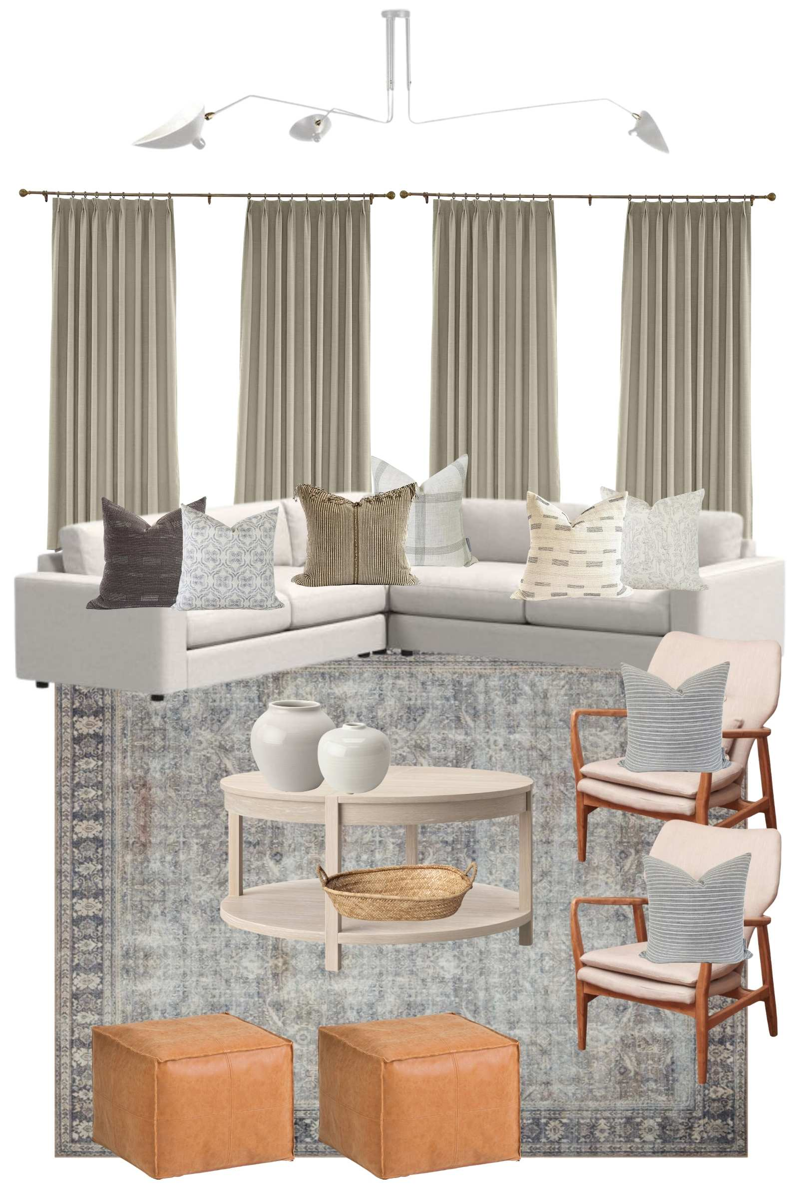 Cozy Modern Living Room Design Plan | wood accent chair, artificial olive tree, La Jolla basket, linen pinch pleat drapes, round wood coffee table, leather pouf