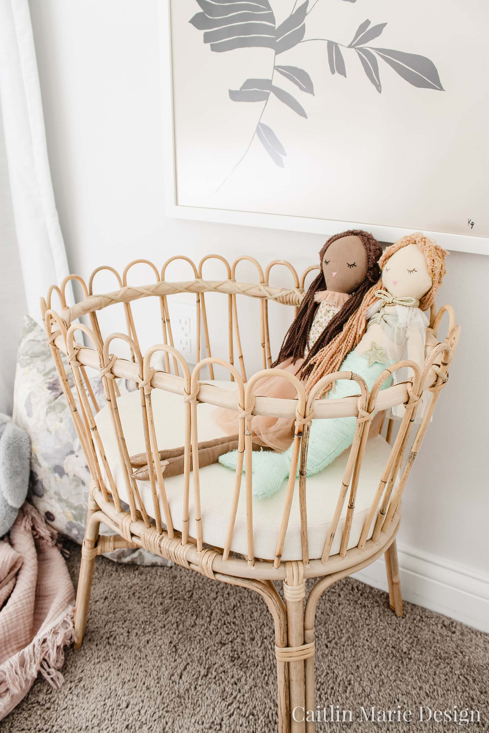 rattan doll crib, rattan toy