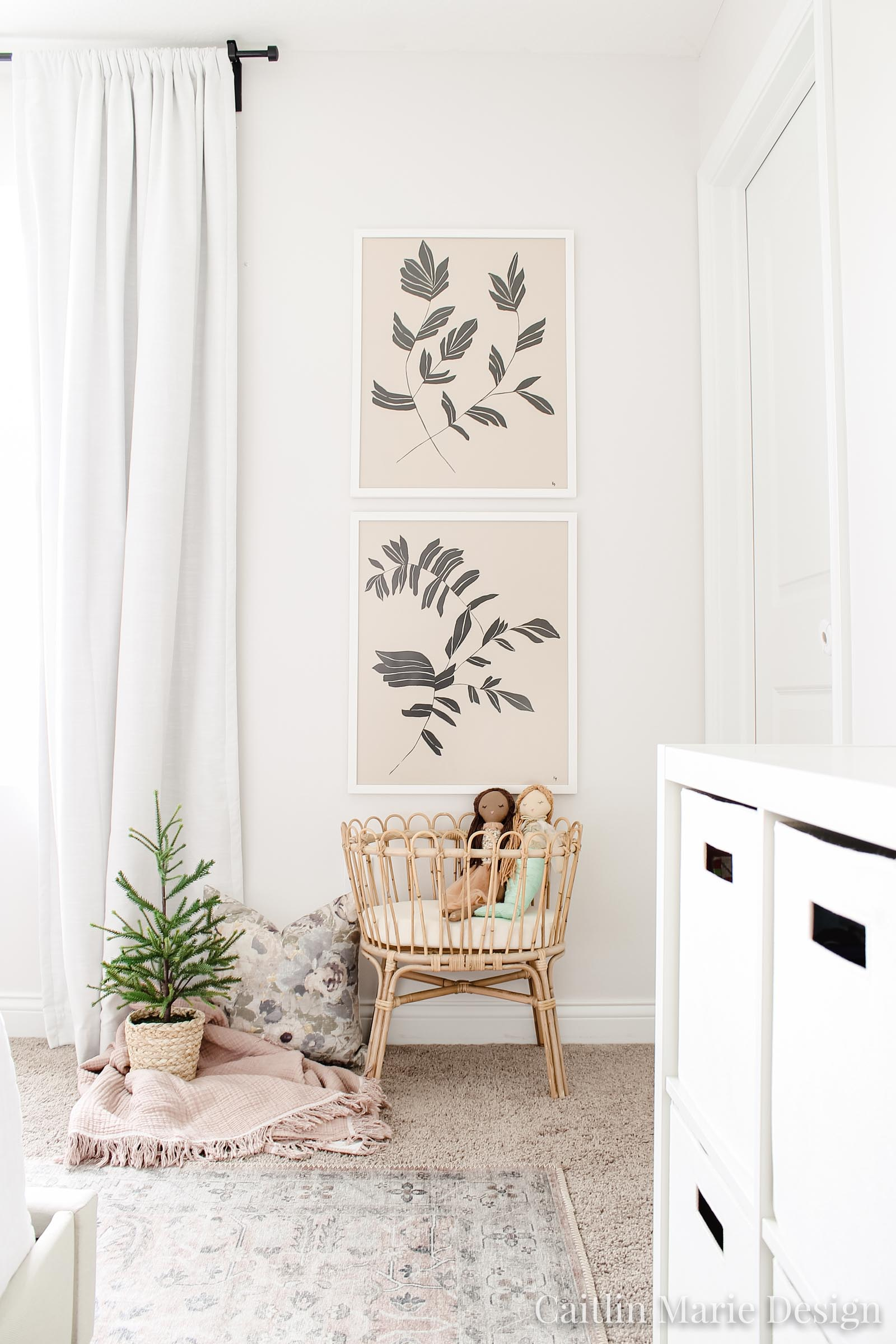 Vintage Floral Big Girl Room | botanical prints, rattan doll crib, rattan toys, Loloi rug blush