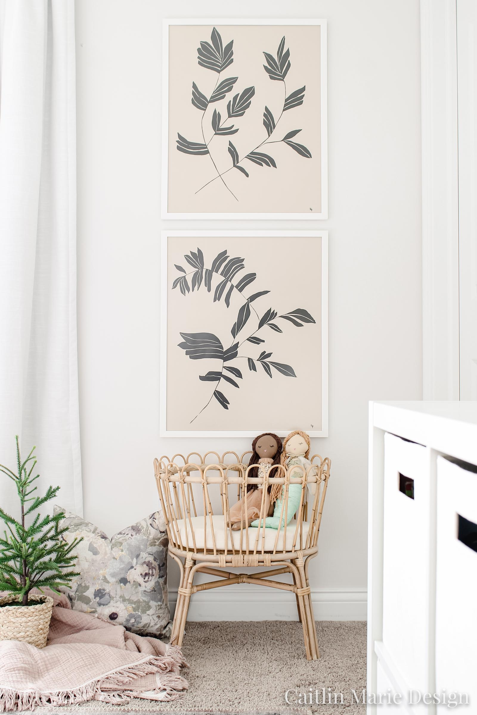 rattan doll crib, oversized botanical art