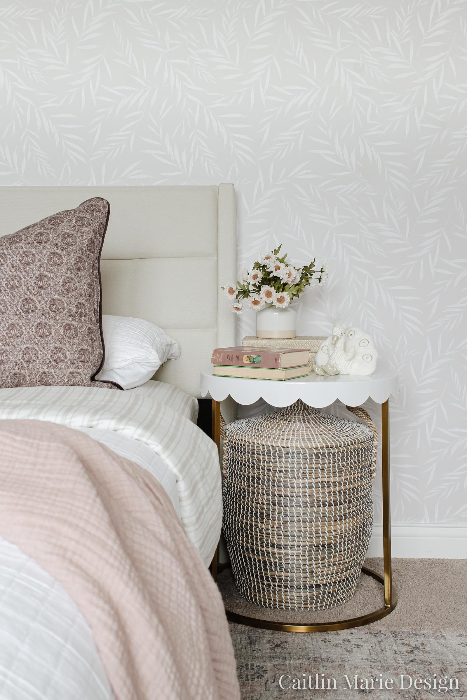 upholstered headboard, Brookside Home Designs, scalloped end table, botanical wallpaper