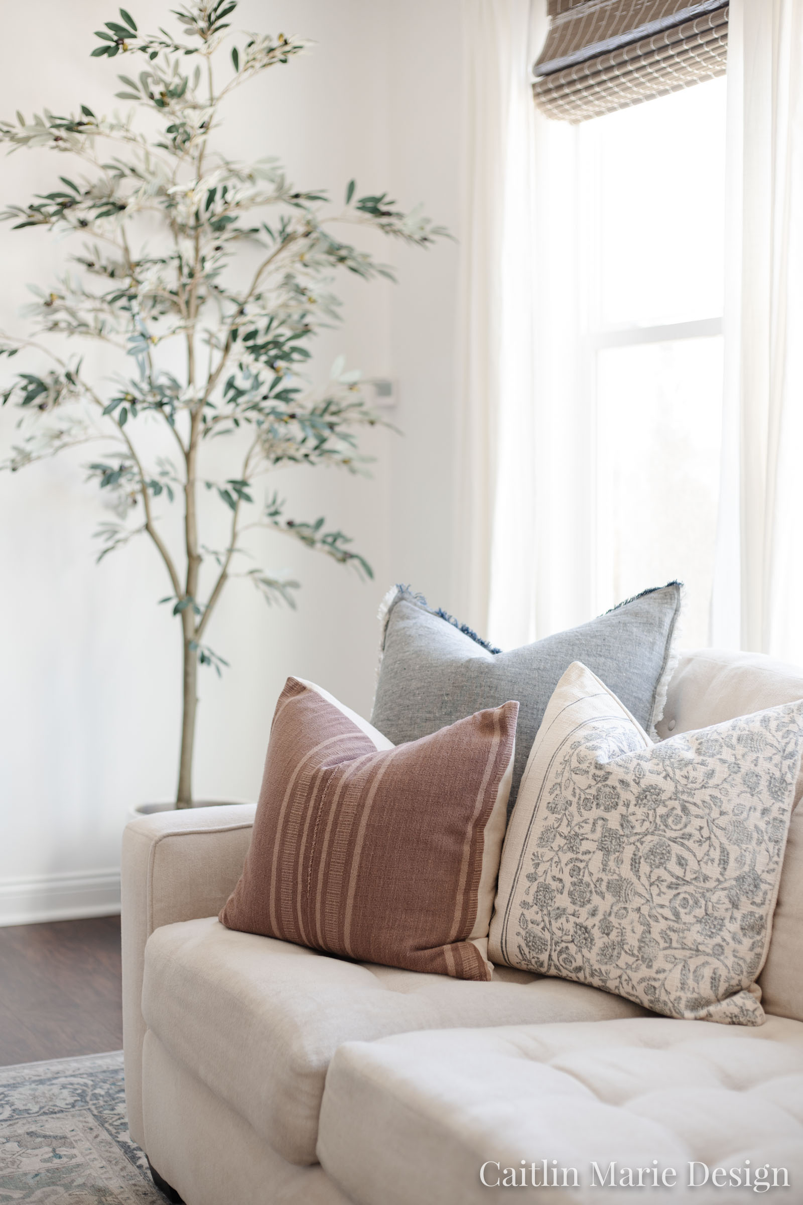 coastal living room, throw pillow combination, artificial olive tree, cream sofa