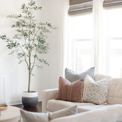 cozy modern living room faux olive tree