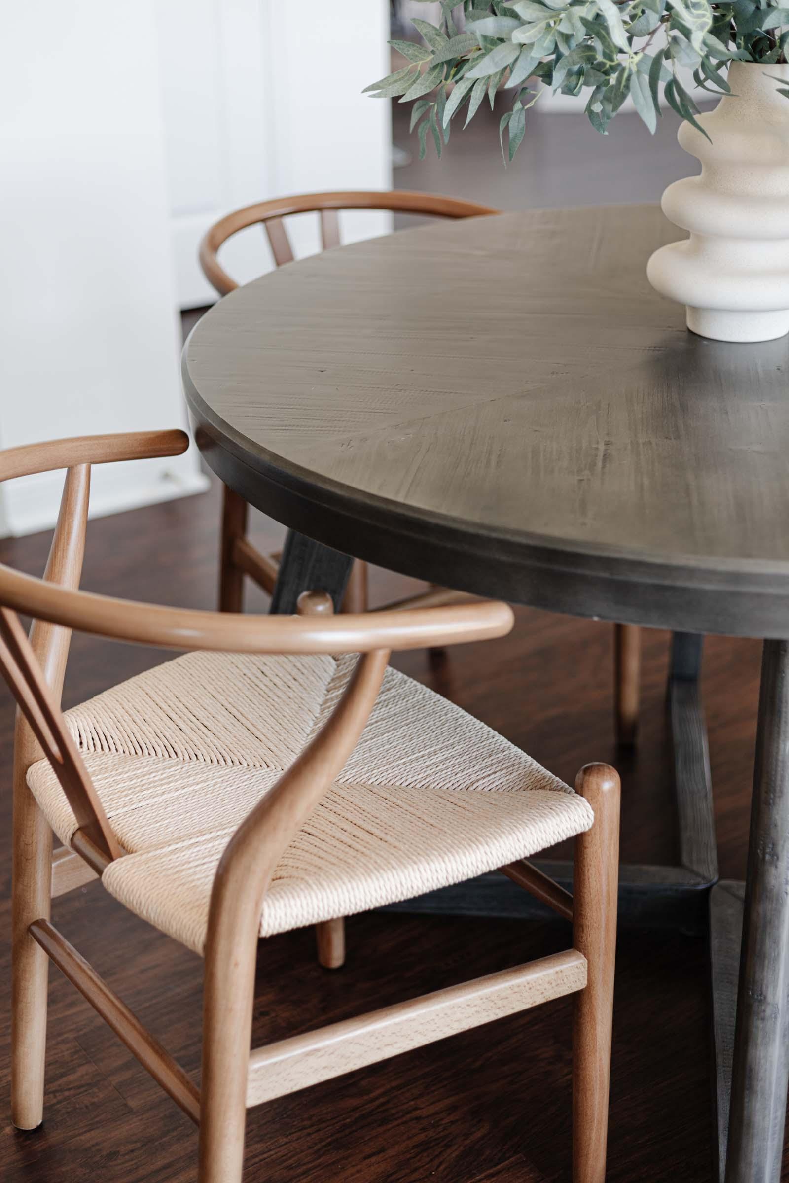Poly and Bark Weave Chair, wishbone chair
