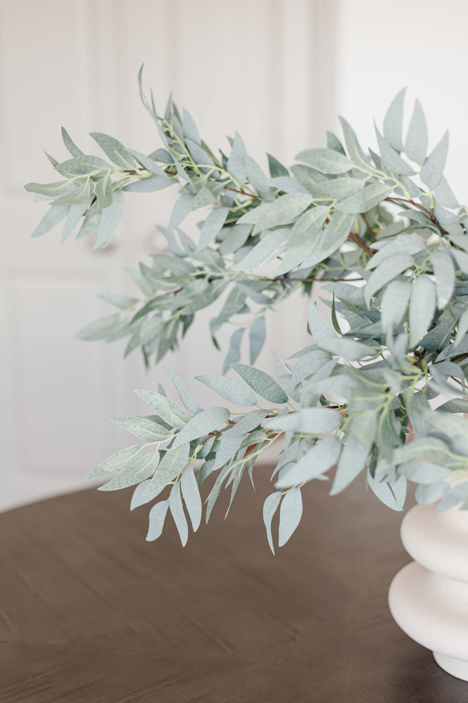 faux greenery, frosted green willow foliage spray