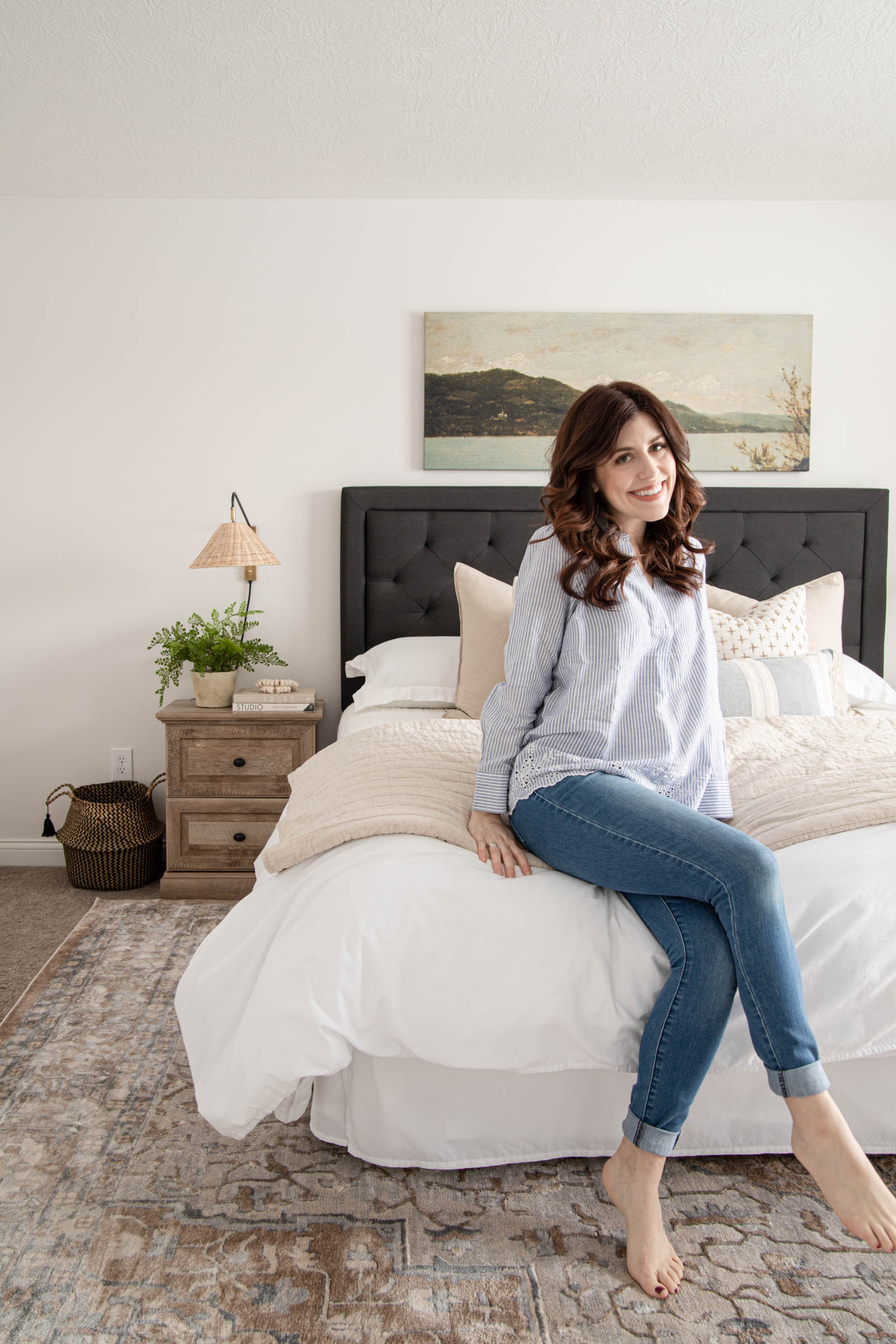 bedroom design, coastal modern, California casual