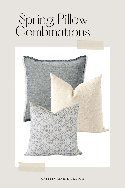 Spring Pillow Combination - blue linen, cream, pattern