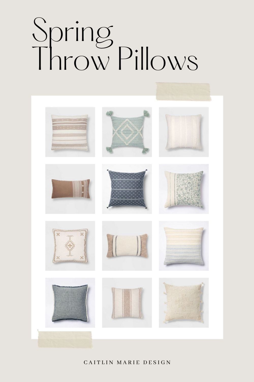 Spring Throw Pillow Roundup | pillow combinations, tassel pillow, Target decor finds, budget home decor, coastal farmhouse