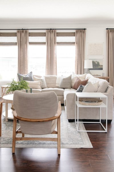 Pinch Pleat Drapes from Amazon Review | coastal casual living room with beige curtains