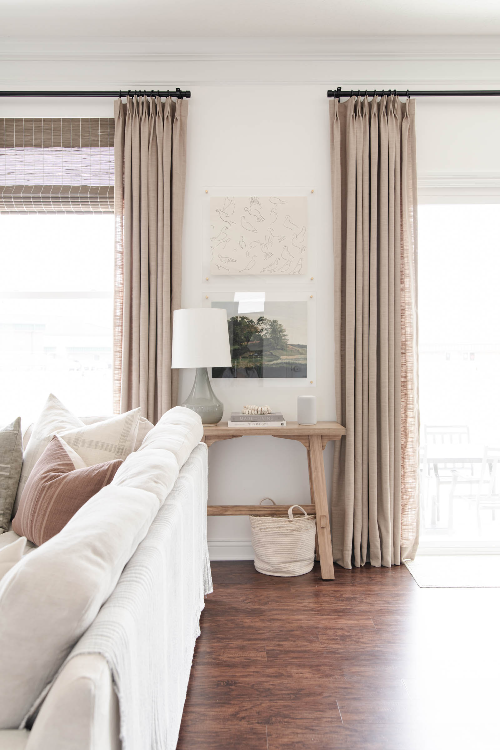 small wood console table with grey beige TWOPAGES drapes