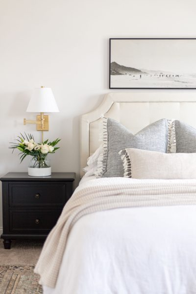 Coastal Pillow Favorites with Serena and Lily | linen pillow cover, topanga pillow, coastal artwork, upholstered headboard