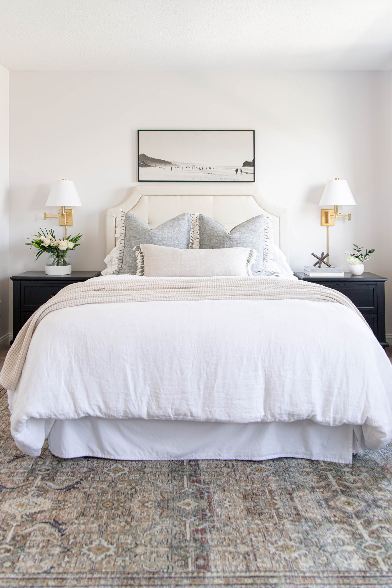 Coastal Pillow Favorites with Serena and Lily | linen pillow cover, topanga pillow, coastal artwork, loloi Layla olive charcoal rug