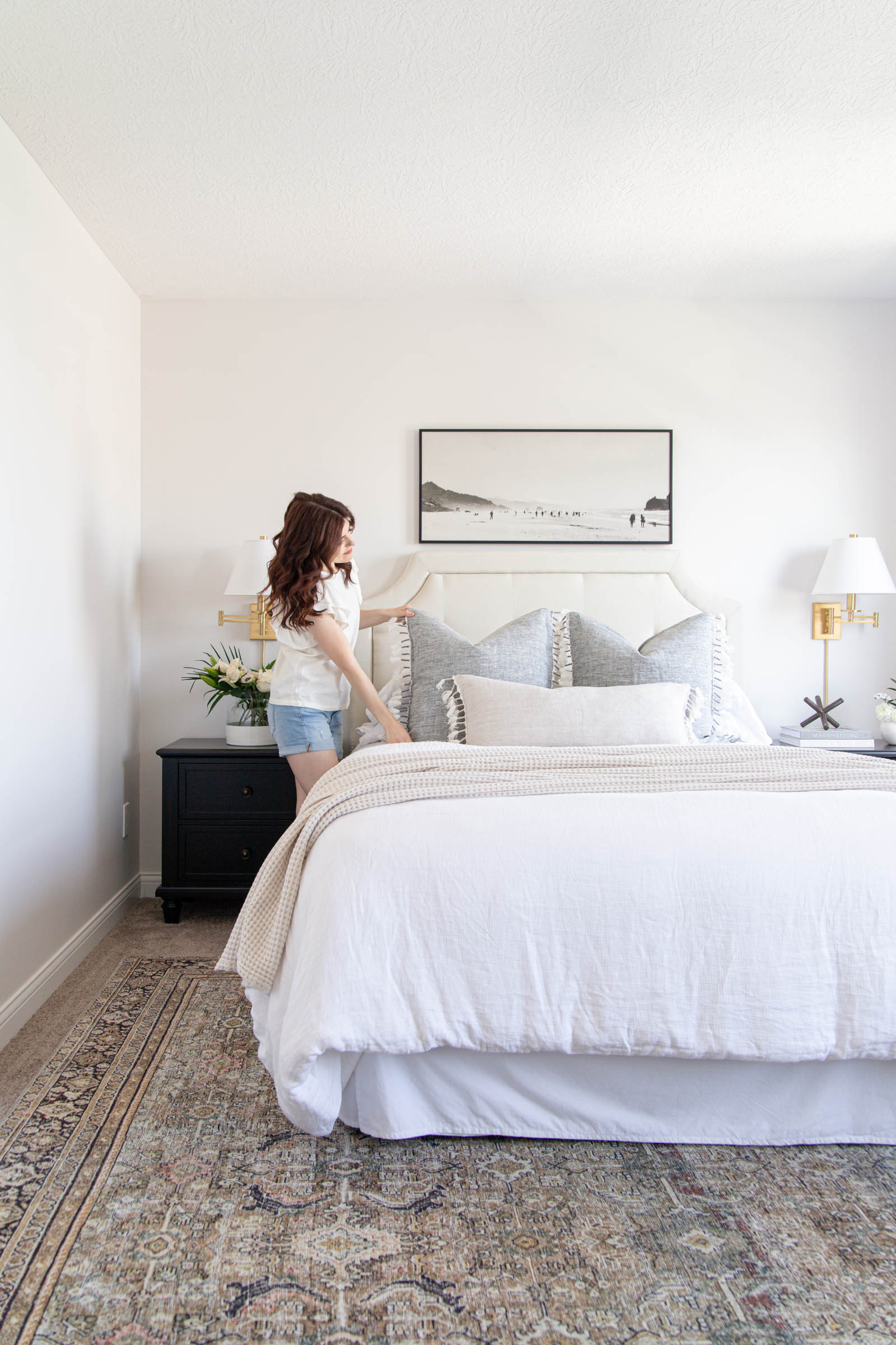 casual bedroom styling with white linen duvet and linen pillow covers