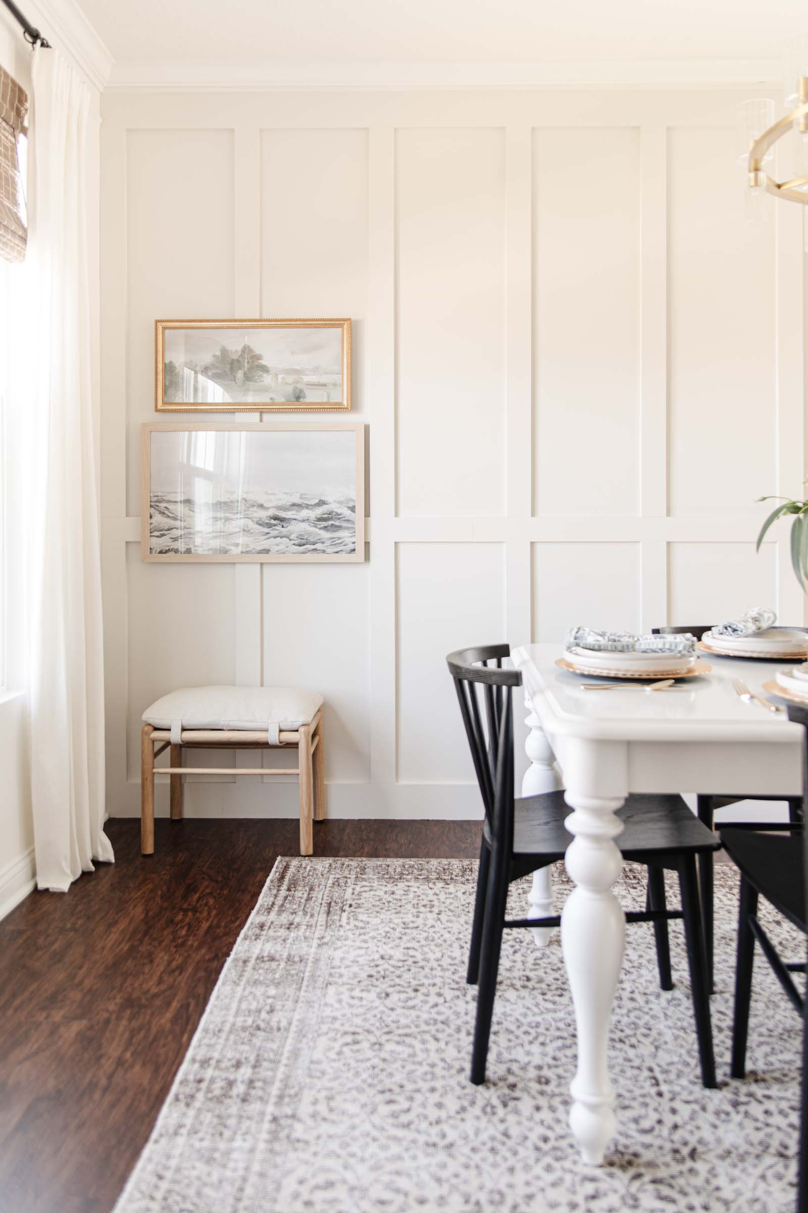 board and batten accent wall, wooden stool