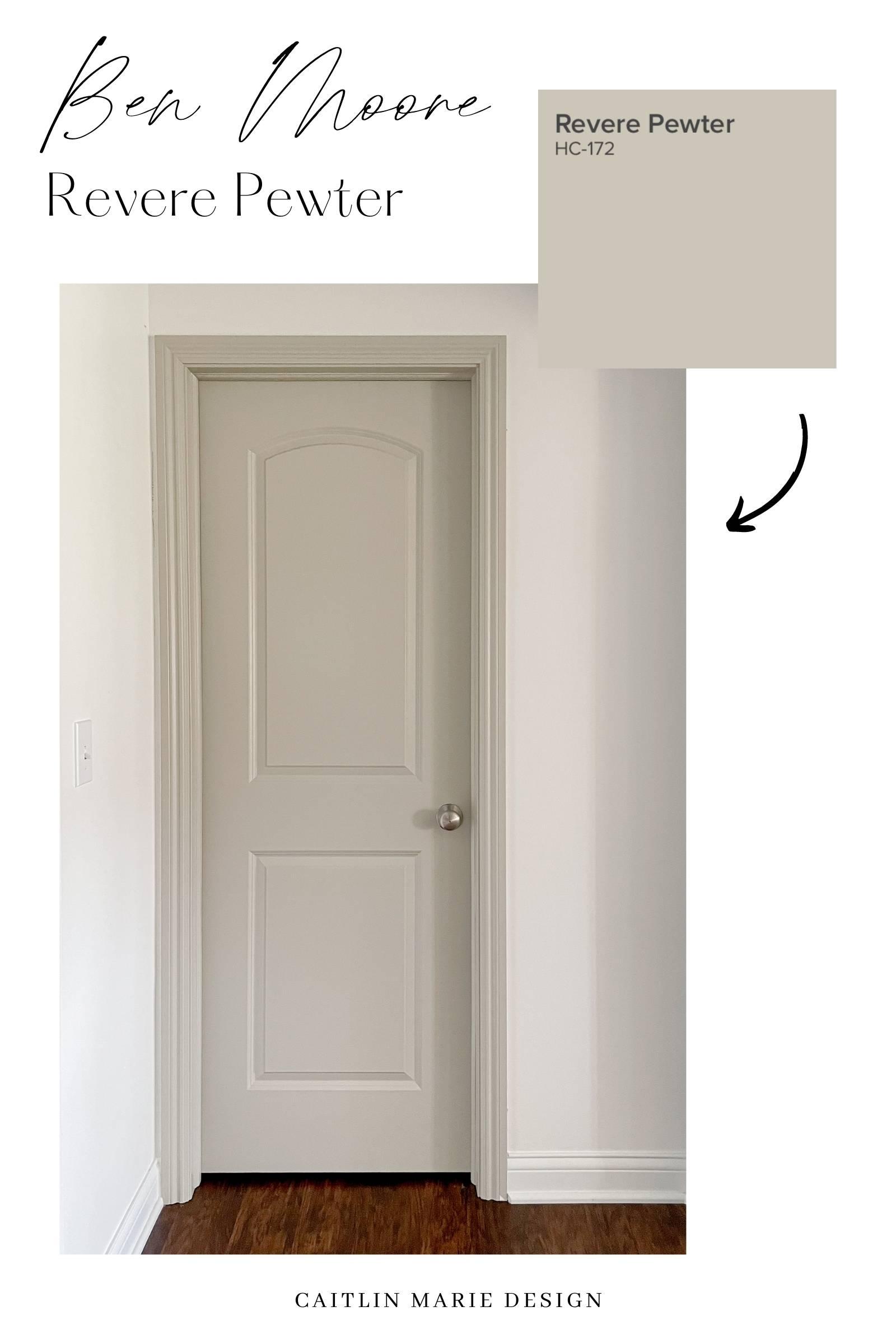 Benjamin Moore Revere Pewter greige gray beige paint color, how to paint interior doors