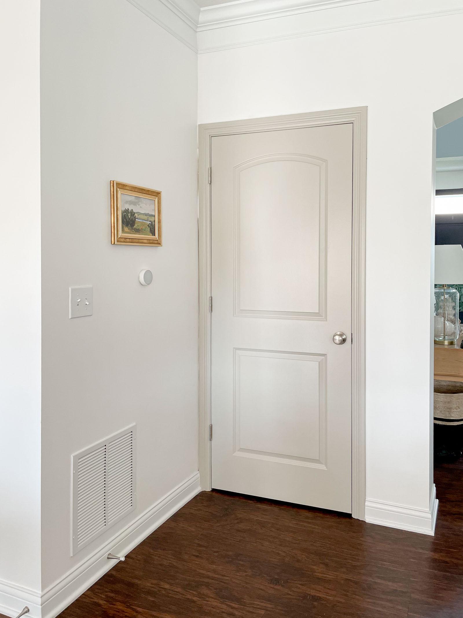 Painted greige door and trim