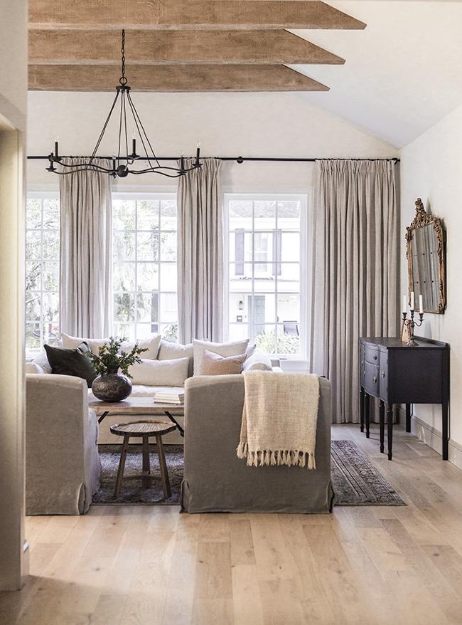 Jenna Sue living room pinch pleat curtains