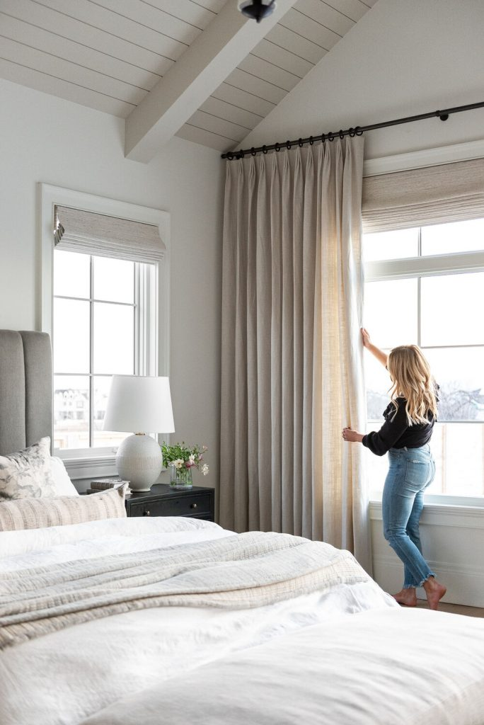 Studio McGee bedroom with pinch pleat drapes
