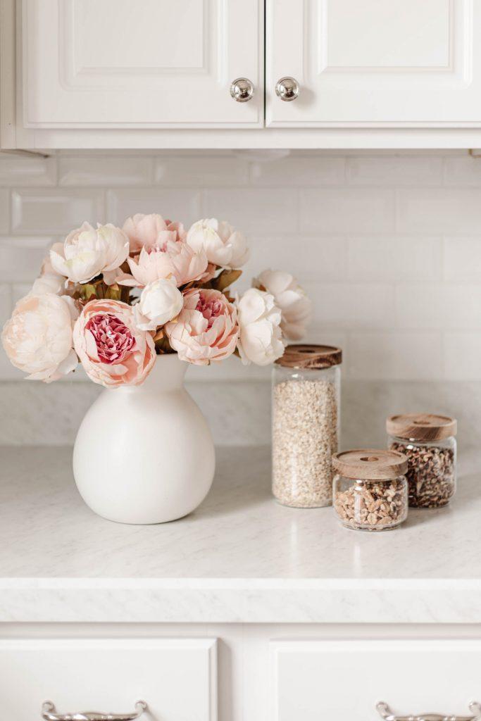 glass canister set for pantry and kitchen, white ceramic vase