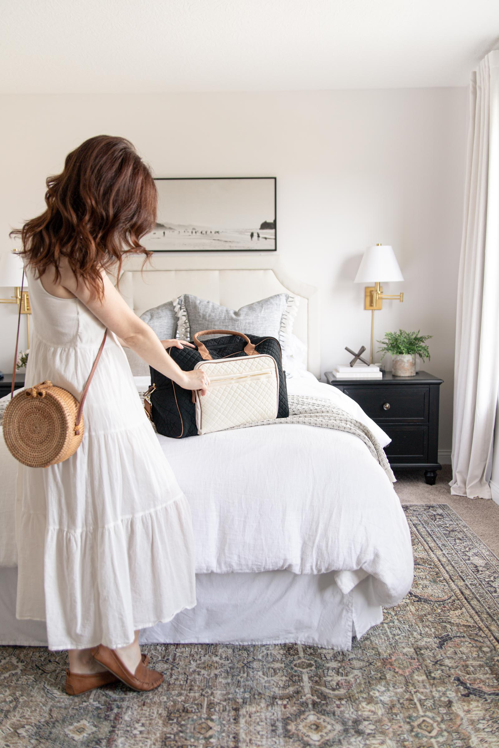 quilted weekender bag, round rattan woven straw crossbody bag, loll Layla olive charcoal rug under bed